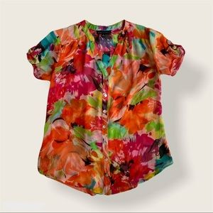 Colorful Short Sleeve Sheer Floral Blouse